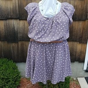 Lauren Conrad polka dot lavender dress with belt.